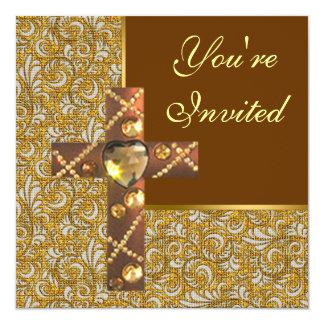"Jeweled Christian Cross Party Invitation 5.25"" Square Invitation Card"