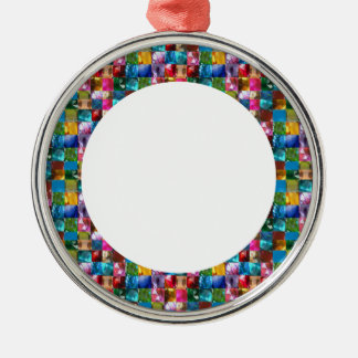 JEWELED CIRCLED FRAMES : DIY Add text or image Silver-Colored Round Decoration