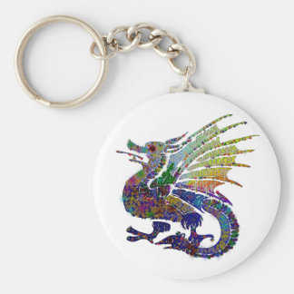 Jeweled Dragon Basic Round Button Key Ring