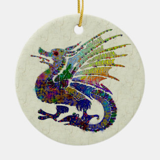 Jeweled Dragon Round Ceramic Decoration
