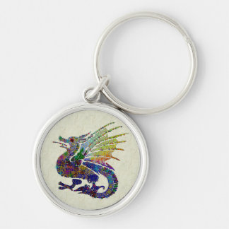 Jeweled Dragon Silver-Colored Round Key Ring
