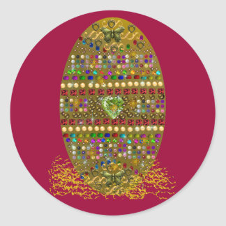 Jeweled Easter Egg Round Sticker