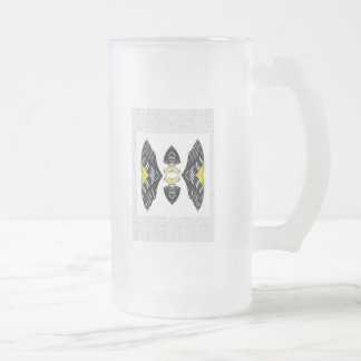 Jeweled Fantasy Butterfly Yellow Polka Dot Boots Frosted Glass Mug