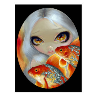 Jeweled Fish Silver and Gold Postcard