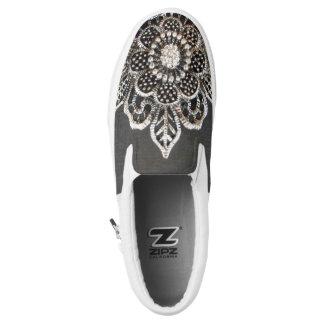 Jeweled Flower Slip-On Sneakers