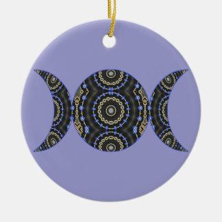 Jeweled Goddess Triple Moon Round Ceramic Decoration