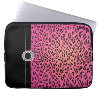 Jeweled Hot Pink Leopard Laptop Cover Sleeve Laptop Sleeves
