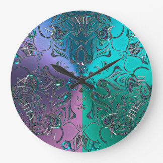 Jeweled Mandala Cool Hued Metallic Gradient Large Clock