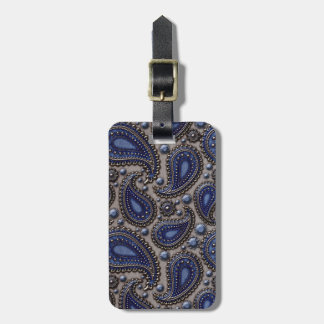 Jeweled Paisley Blue and Grey Luggage Tag