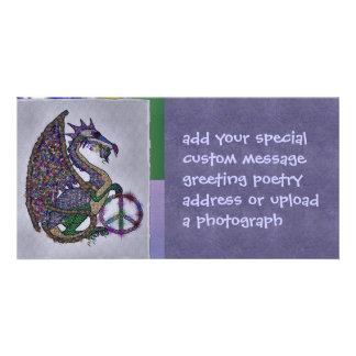 Jeweled Peace Dragon Personalized Photo Card
