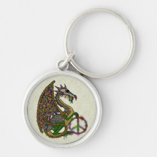 Jeweled Peace Dragon Silver-Colored Round Key Ring