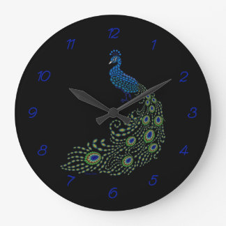 Jeweled Peacock on Black Wallclocks