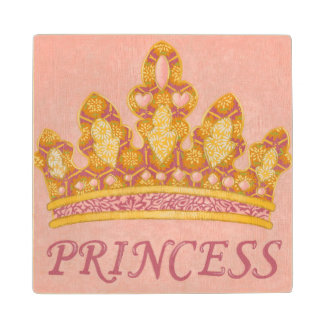 Jeweled Princess Crown by Chariklia Zaris Wood Coaster