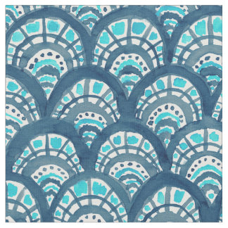 JEWELED SCALES Navy Mermaid Fish Pattern Fabric