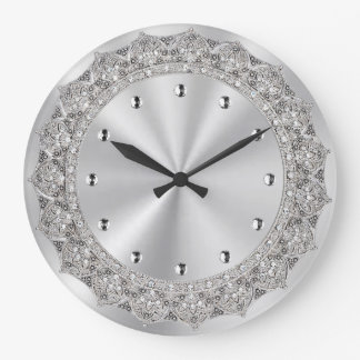 Jeweled Silver Large Clock