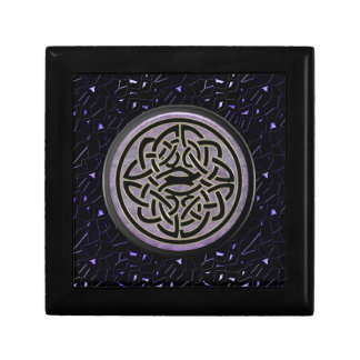 Jeweled Sky with Celtic Knot in Black and Gold Small Square Gift Box