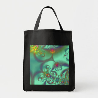 Jeweled Staircase - Abstract Emerald Kaleidoscope Grocery Tote Bag