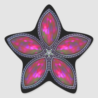 Jeweled Star - Cranberry Star Sticker