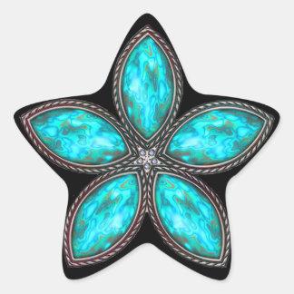 Jeweled Star - Cyan 2 Stickers