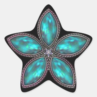 Jeweled Star - Dk Teal Star Sticker