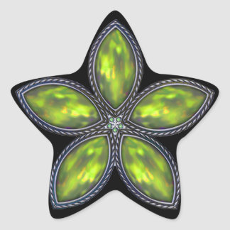 Jeweled Star - Green Stickers