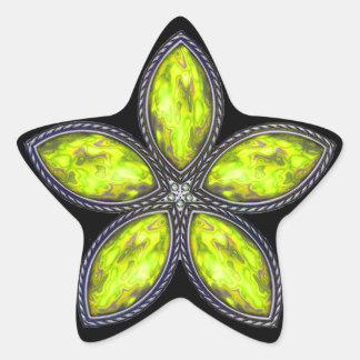 Jeweled Star - Lt Green Star Sticker