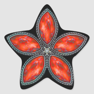 Jeweled Star - Red 2 Star Stickers