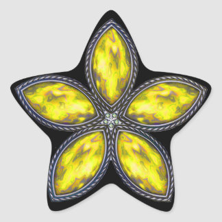 Jeweled Star - Yellow Star Sticker