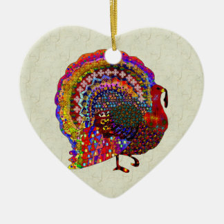 Jeweled Turkey Ceramic Heart Decoration
