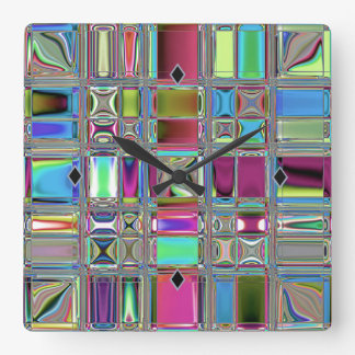 Jewelee Modern Mosaic Art Square Wall Clock