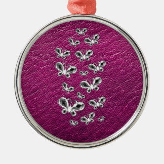 Jewell Butterflies Silver-Colored Round Decoration