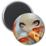 """Jewelled Fish:  Silver and Gold"" Magnet"