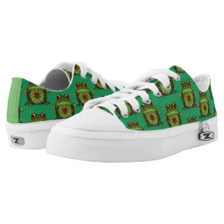 Jewelled Frog Green Printed Shoes