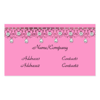 Jewelled Lace Pink Business Card