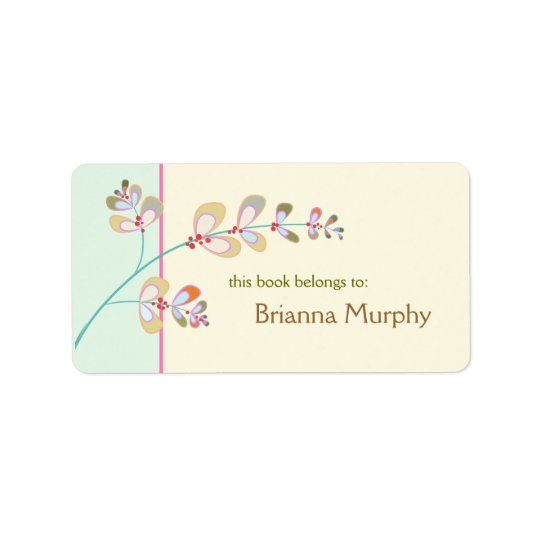 Jewelled Leaves Bookplate Labels