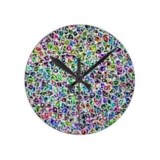 Jewelled mosaic round clock