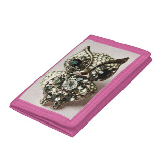 Jewelled Owl Tri-fold Wallets