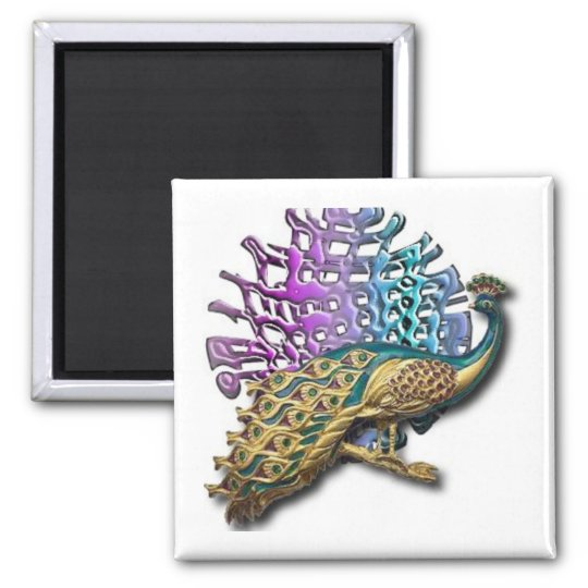 Jewelled peacock square magnet