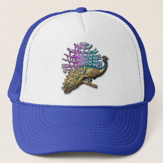Jewelled peacock trucker hat