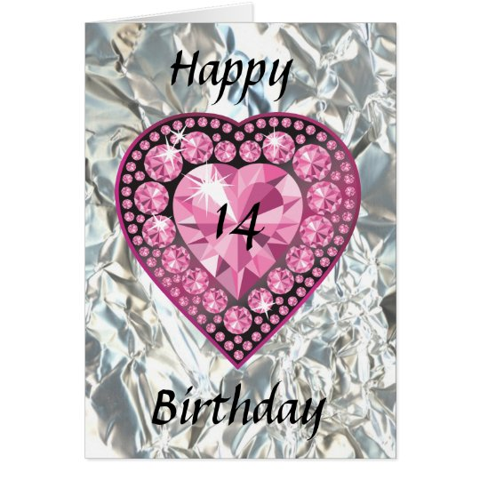 Jewelled Pink Heart Teenager Girl's Birthday Card