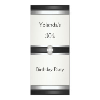 Jewelled Silver Trim White 30th Birthday Party 10 Cm X 24 Cm Invitation Card