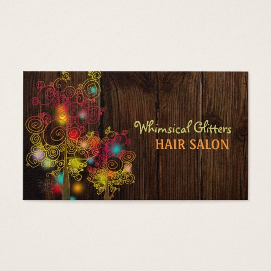 Jewelled Spiral Trees Hair Stylist Business Cards