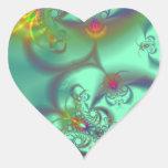 Jewelled Staircase - Abstract Emerald Kaleidoscope Heart Sticker