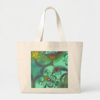 Jewelled Staircase - Abstract Emerald Kaleidoscope Jumbo Tote Bag