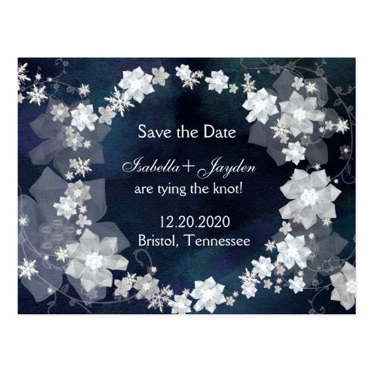 Jewelled Winter Wedding Wreath Save the Date Postcard