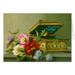 Jewellery Box and Flowers Customisable Notecard
