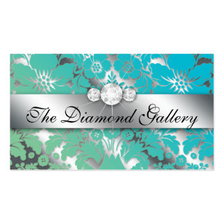 Jewellery Business Card Damask Floral Silver BG
