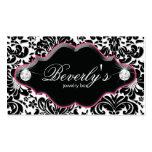 Jewellery Business Card Pink Damask Diamonds