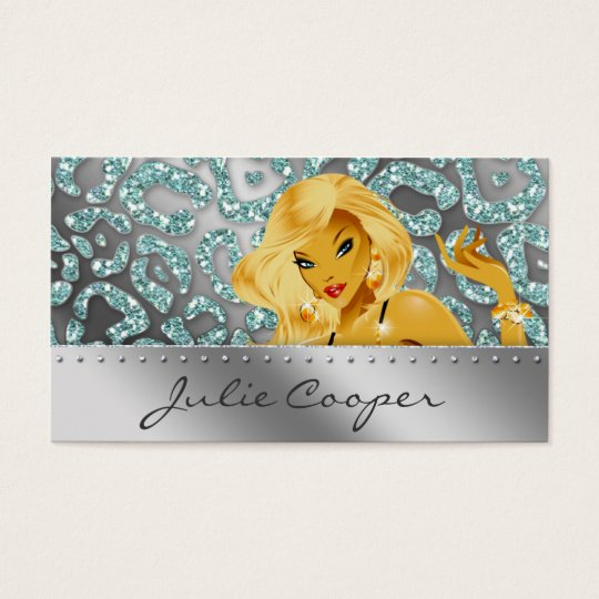 Jewellery Business Card Teal Blonde Leopard