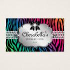 Jewellery Business Card Zebra Rainbow Bow Heart